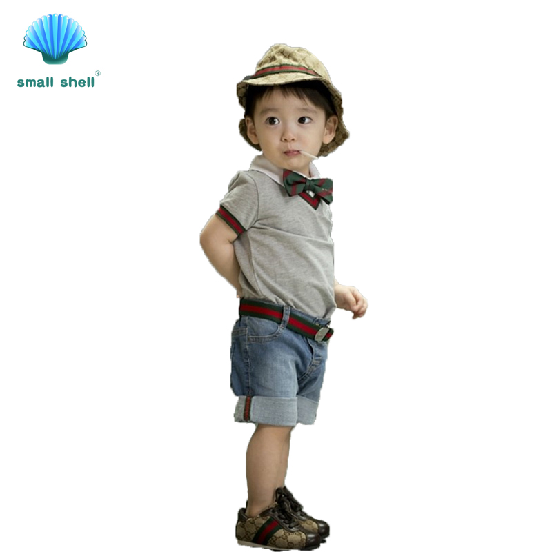 small shell summer Children baby boys clothing sets kids clothes cotton gentleman style 3-piece T-shirt + jeans + bow tie F0003