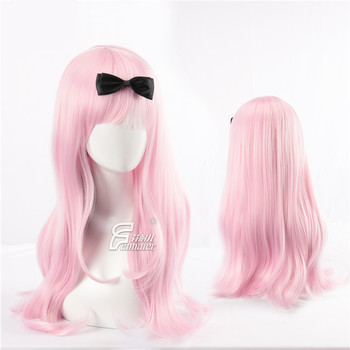 Токийский аниме kaguya sama: love is war Fujiwara Chika косплей парик для женщин длинные волнистые розовые волосы парик с черным бантом костюмы