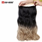 Wignee 5 Clips In Hair Extensions Wavy Bundles For Women 2 Tone Ombre Color Natural Black Root False Hair Dark Grey/Brown/Green