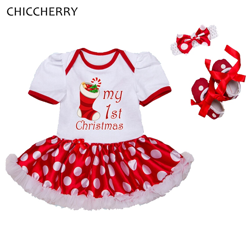My First Christmas Baby Girl Clothes Set Girls Red Christmas Dress Headband Crib Shoes Conjunto Infantil Menina Newborn Clothing