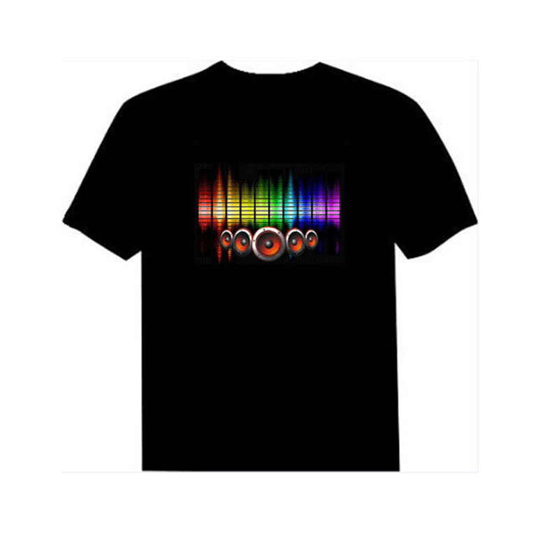 2019 Hot Sale Sound Activated LED T Shirt Light Up And Down Flashing Equalizer EL T-Shirts Men For Rock Disco Party DJ Tshirt
