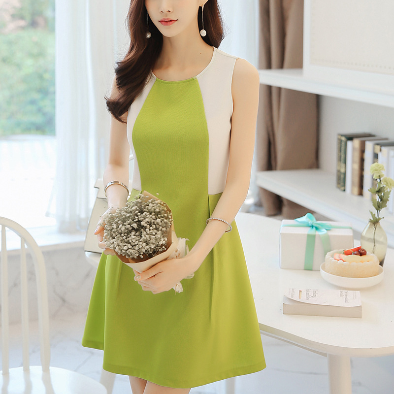Xuan rui clothes Store Latest Women's Summer Casual Dress O-Neck Collar Sleeveless Fashion Elegant Dress Slim Big Yards Q012 Size S-2XL