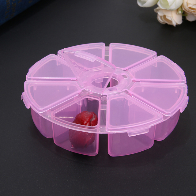 8 Lattices Round Clear Plastic Storage Box Case For Jewelry Beads Organizer  Button Container Box For