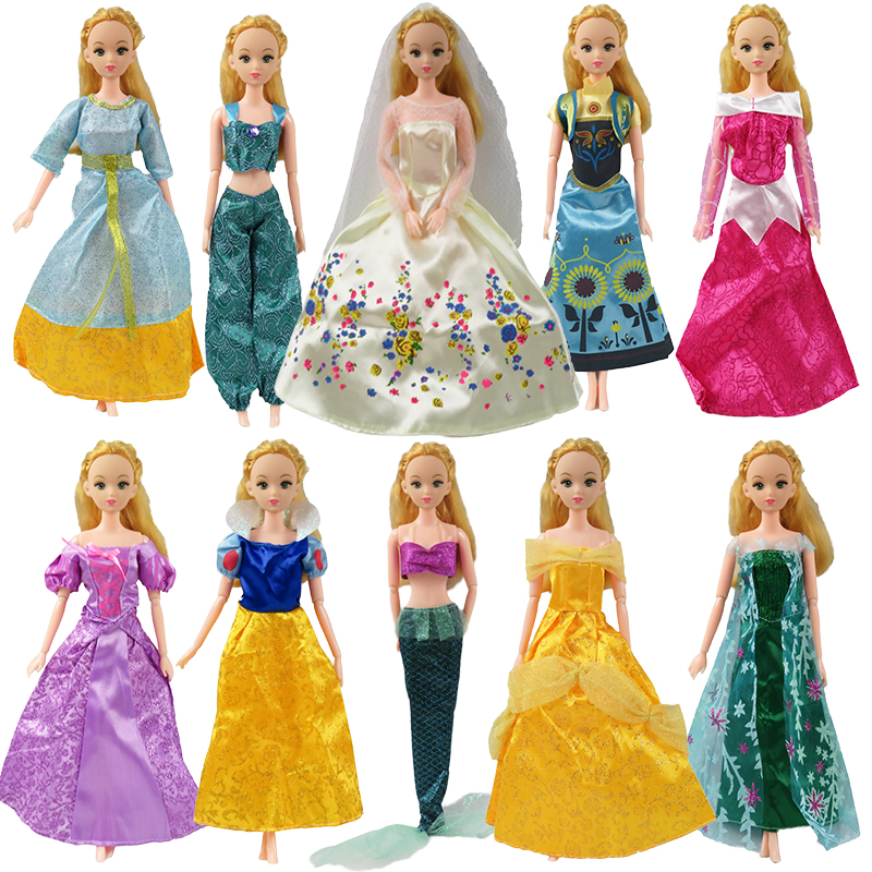 Random 5 Pieces Princess Doll Dress Fairy Tale Cinderella Princess Dress for Barbie doll Clothes for girls gift kid Toys
