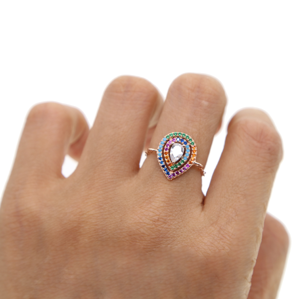 2018 new arrived women girl finger rings colored CZ stone rose gold filled trendy chic modern lady gift adjust ring