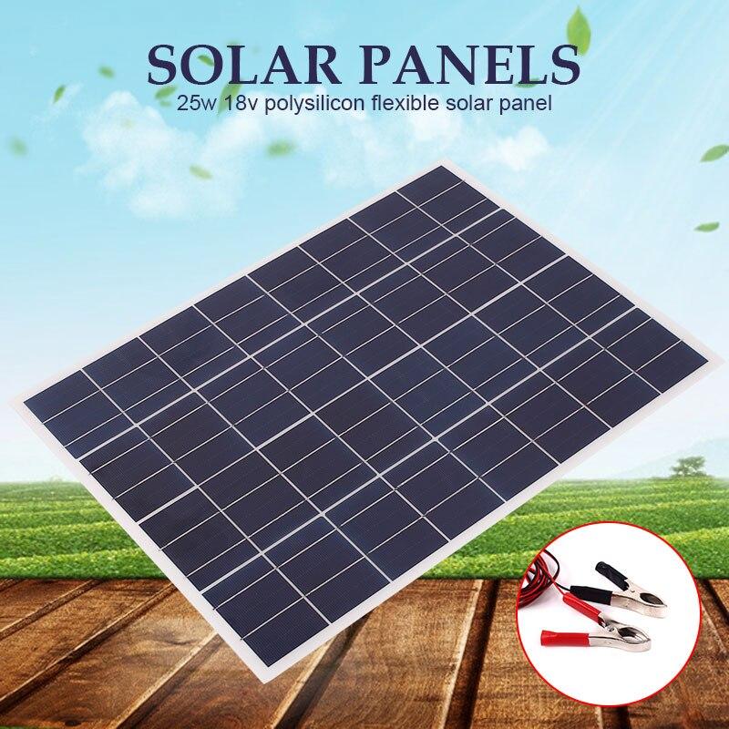 Panneau solaire 25 w pour chargeur 25 w 12 v/w 4 m câble bloc Diode et Clip batterie chargeurs de téléphone Portable cellule solaire Portable