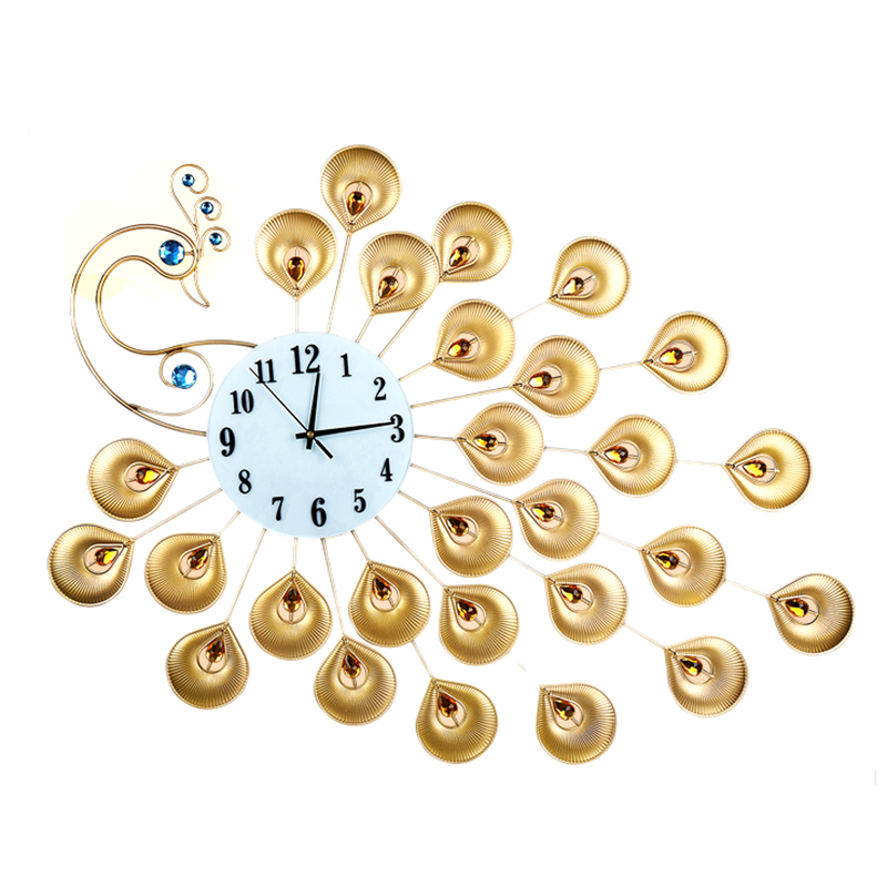 luxuary pavone orologio da parete design moderno grande orologio da parete reloj per soggiorno complementi arredo