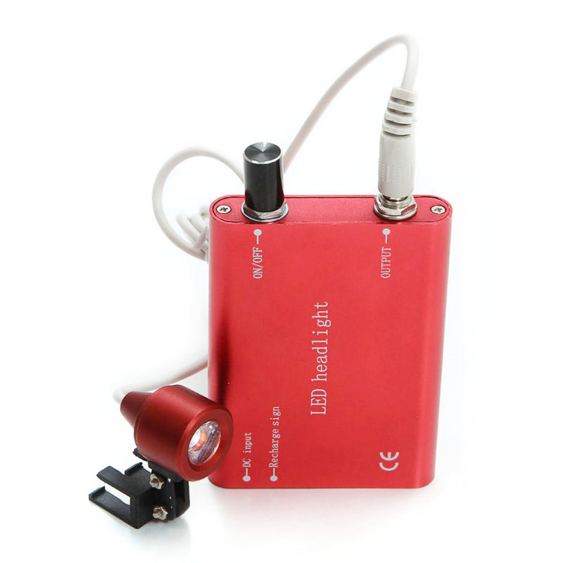 *CE 3.5X420mm Portable Dentist Surgical Medical Binocular Dental Loupe Optical Glass with LED Head Light Lamp Red A Class