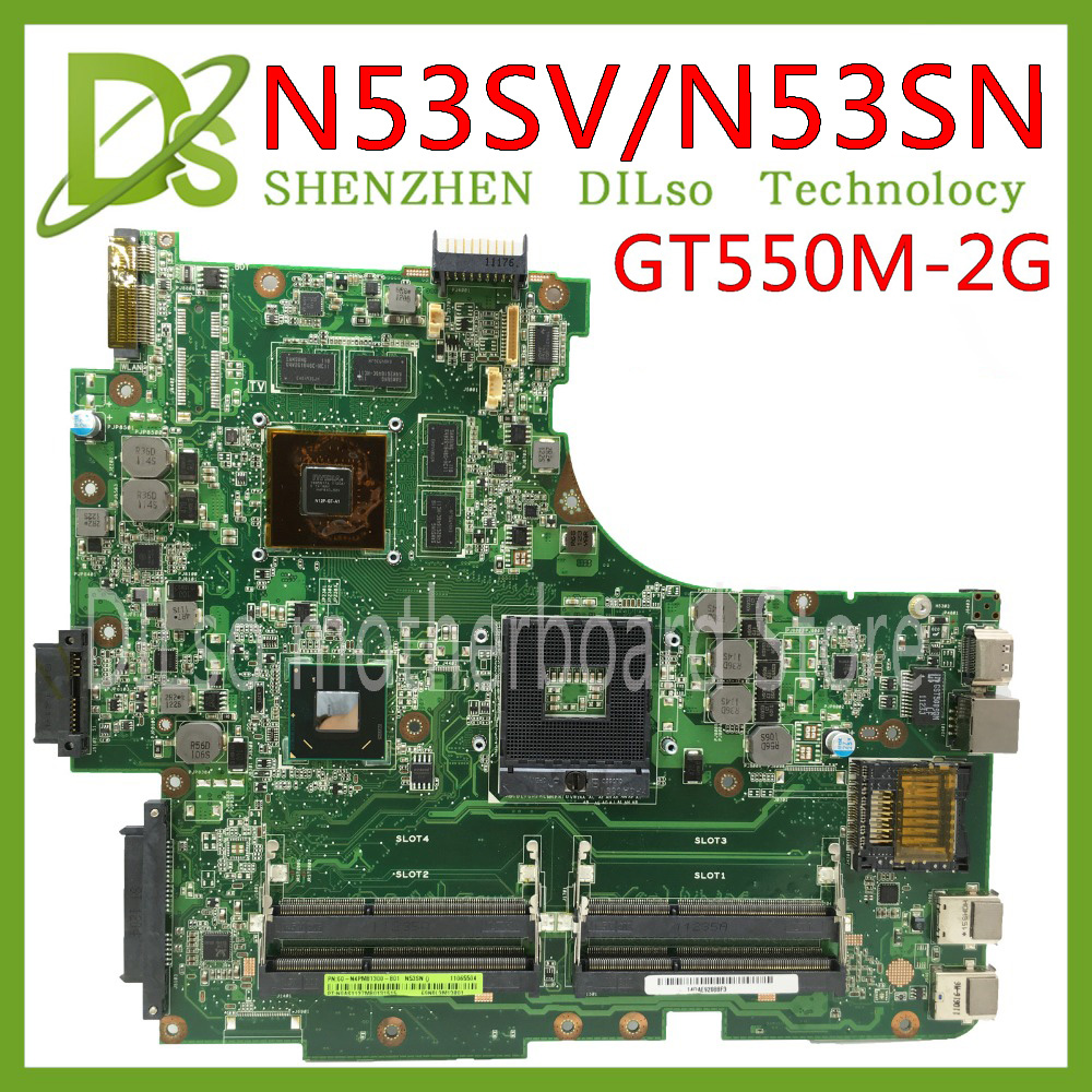 KEFU N53SN Mainboard For ASUS N53S N53SV N53SN N53SM Laptop Motherboard GT550M 2G Video Memory Test Work 100% Original