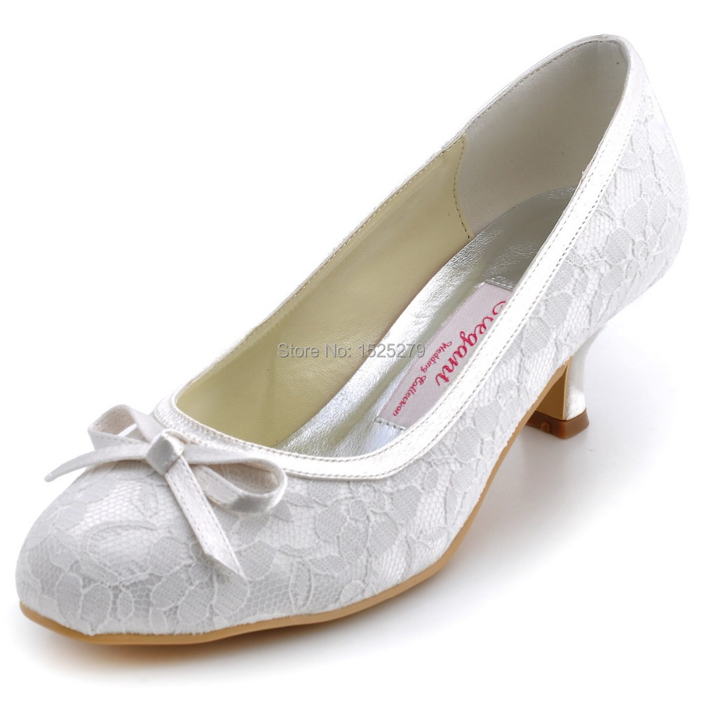 WM-017 Women Shoes White Ivory Bride Closed Toe Bridal Prom Party Pumps Square Med Heels Bow Lady Satin Lace Wedding Dress Shoes