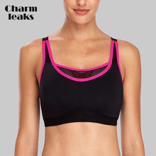 Charmleaks Womens Hight Impact Sports Bra Padded Support Yoga Mesh Breathable Fitness Workout Racerback Top
