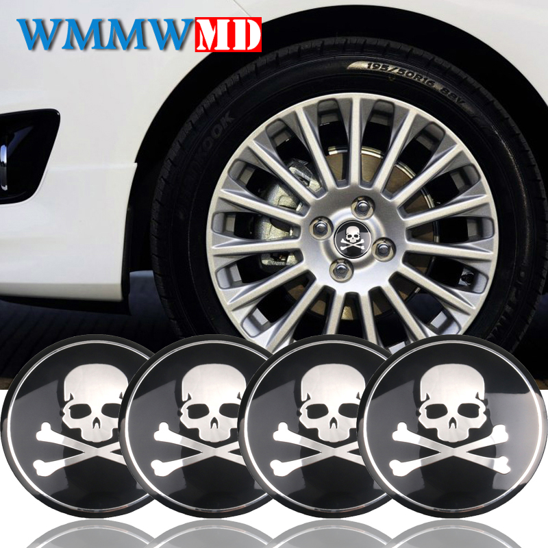 4pcs 56mm Aluminum Black Skull Auto Car Wheel Center Hub Caps Cover emblem Sticker For Universal Car BMW Nissan Audi Car styling 6pcs lot soft thumb grips thumbstick joystick high enhancements cover caps skin fit for sony play station 4 ps4 ps3 xbox 360