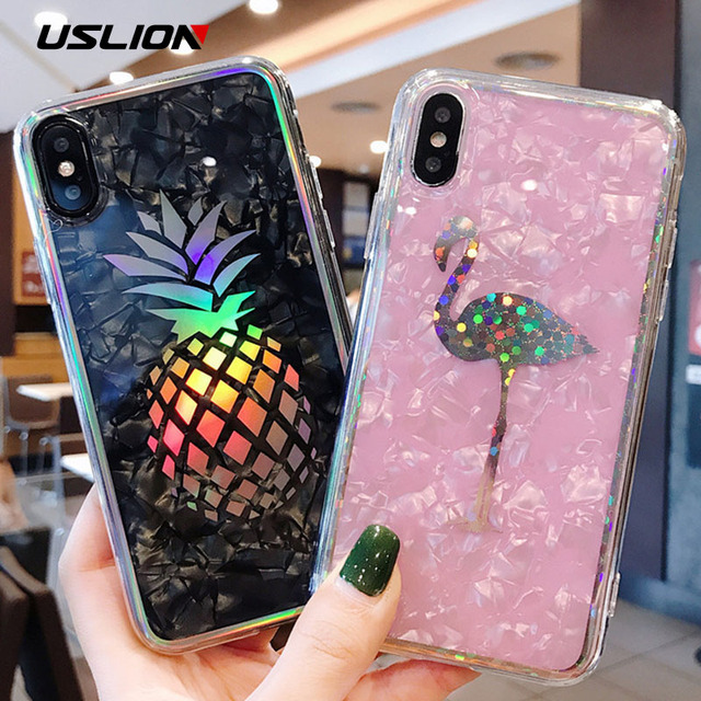 USLION Glitter Laser Case For iPhone 7 8 Plus Flamingo Pineapple Phone Cases For iPhone X 7 6 6S Plus Hard PC Back Cover Coque