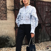 Women Cardigan Tops High Quality Long Sleeve Floral Hollow Out Runway Blouses 2018