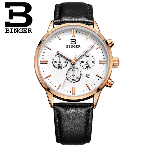 Switzerland Binger New Fashion Luminous Leather Multifunction Watches Men Quartz Watch Waterproof Wristwatches Male Relojes 2017 new binger fashion casual cow leather watches waterproof wristwatches hours for man sapphire orange quartz watch
