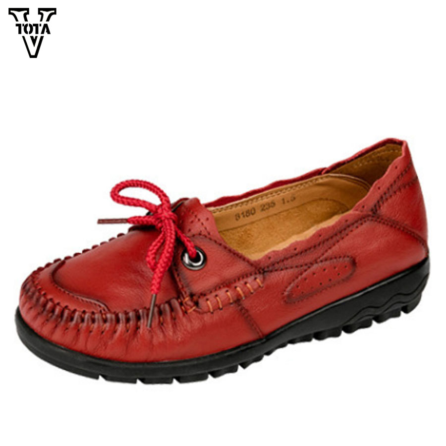 VTOTA Women Shoes Genuine Leather Shoes Woman Loafers Spring Autumn Casual Shoes Slip On Flats Soft Bottom Comfortable BMXC vtota fashion spring autumn women flats 2017 shoes woman slip on casual shoes soft comfortable women shoes new ladies shoes x48