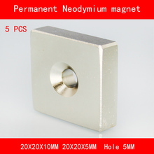 5PCS square block magnet 20*20*10MM 20*20*5MM hole 5MM n35 Rare Earth strong Permanent NdFeB Neodymium Magnet цена
