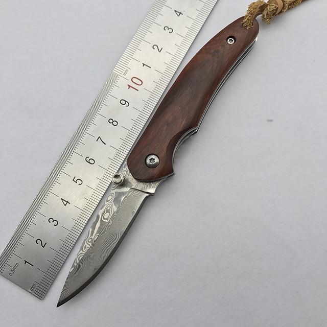 cool mini pocket knife small wood handle key chain knife portable EDC tool hunting knife survival folding knife Damascus blade