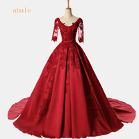 abule Fuffy Ball Gown red Quinceanera Dresses Long v neck lace up Vestidos De 15 Anos lace Prom Dress For Girls 2018