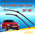 "Escovas Para VW VOLKSWAGEN POLO (2010-) 2011 2012 2013 2014 Car Windscreen Windshield Wiper Wiper Blade 24 ""+ 16"" carros estilo"