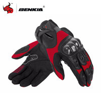 BENKIA Motorcycle Gloves Carbon Fibre Leather Glove Summer Breathable Motocross Racing Gloves Guantes Moto Red Black
