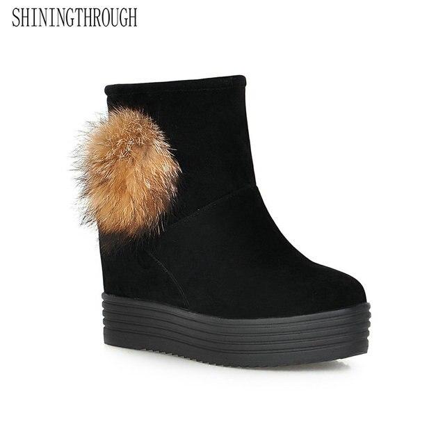0e9498a3cdb574 Bottes de neige SHININGTHROUGH hiver bottines femmes chaussures 2018 mode  talons bottes d'hiver chaussures