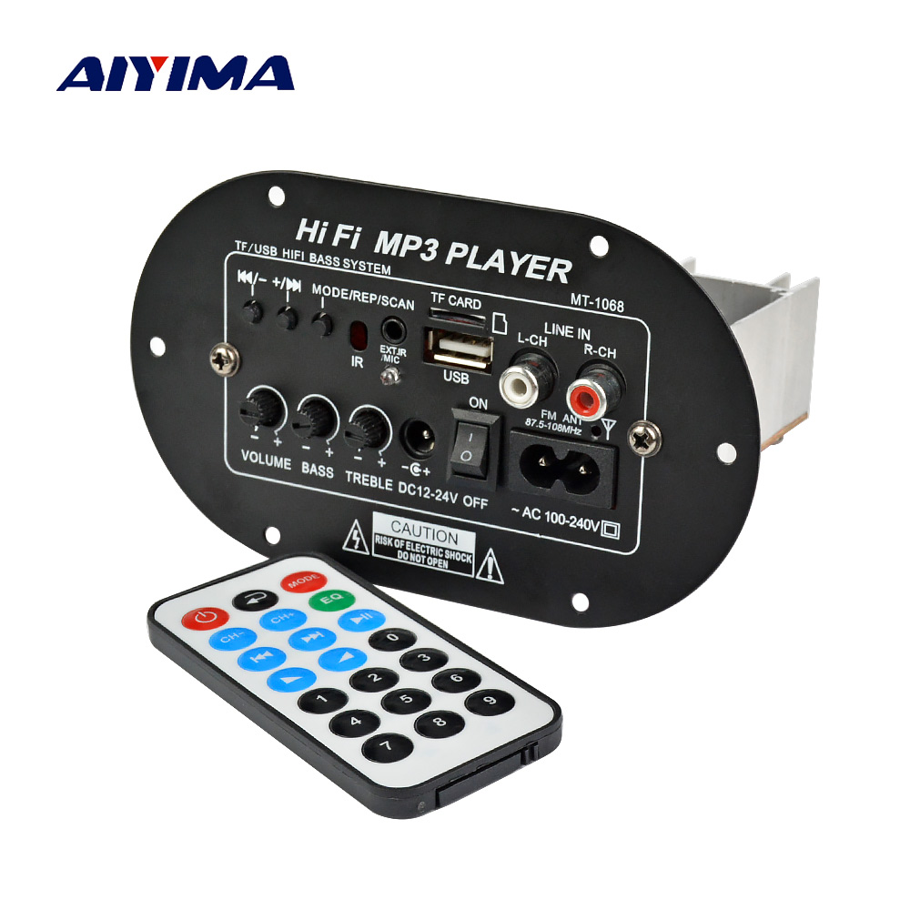 AIYIMA Subwoofer Amplifier Board 120W Car Power Amplifiers 12V 24V 220V Support AUX USB TF For 6-8 Inch Speaker DIY