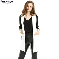 2017 New Big Yard Loose Long Women Vest Spring Sleeveless Solid Suit Collar Business Attire Vests