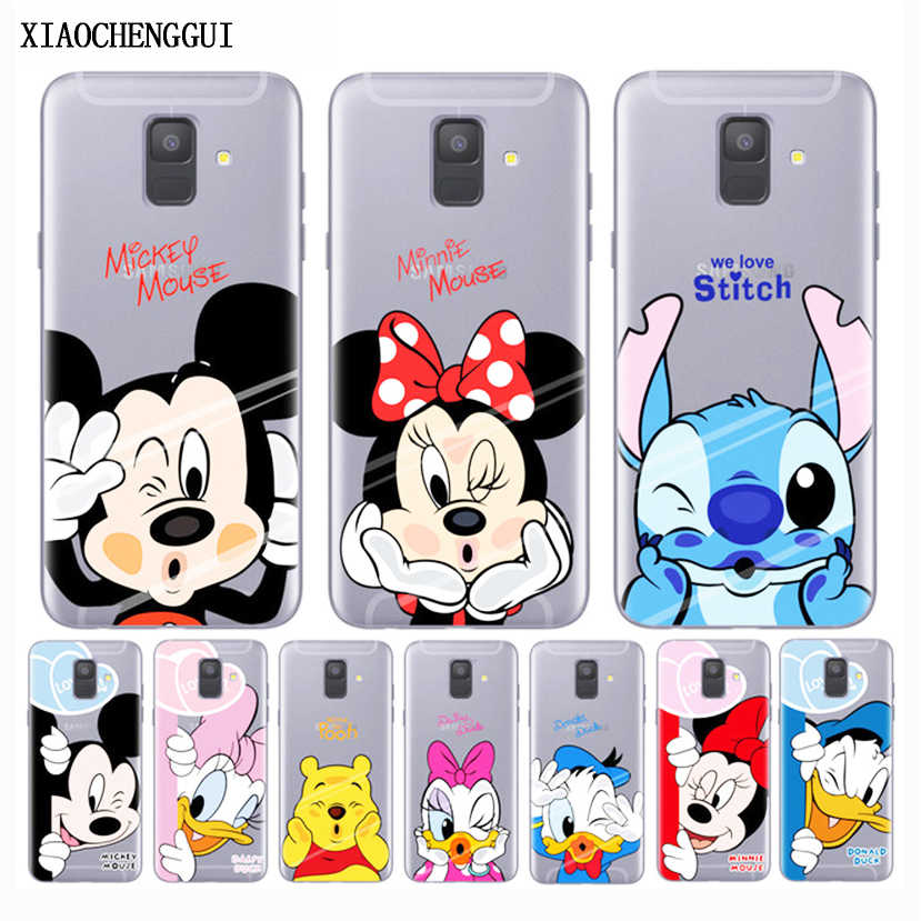 Case Telepon untuk Samsung Galaxy A6 2018 Kasus Mickey Minnie Silikon Lembut Penutup Case untuk Samsung S3 4 5 6 7 Edge Plus Cover