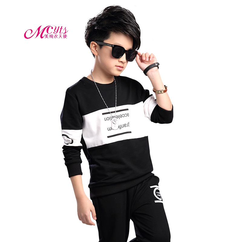 Spring Autumn Kids Tracksuits Boys Long Sleeve Pullover+Pants Sets New Fashion Children Clothing Sports Suit For Boy 4-14 Years