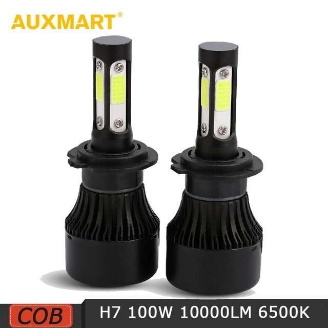 Auxmart H7 4 Sides Lumens 100w 10000lm Led Car Headlight Bulb Cob