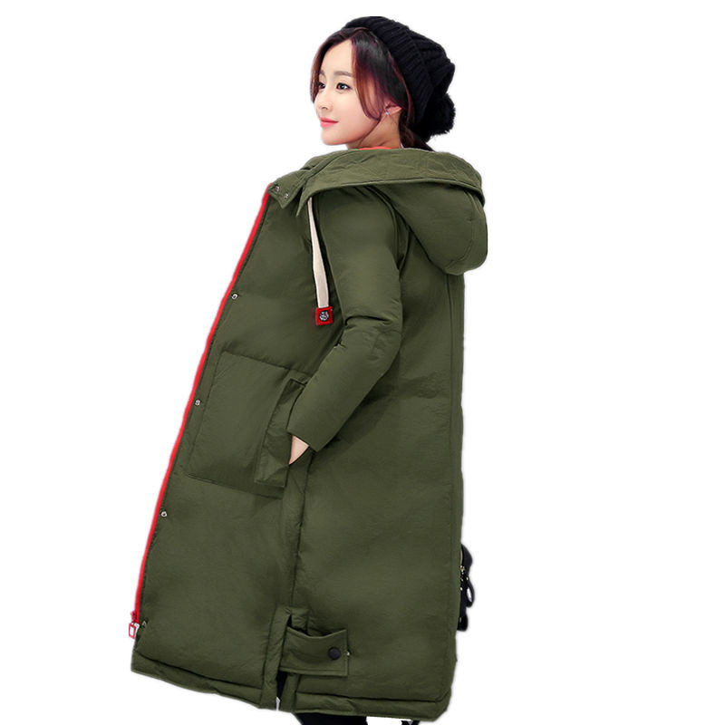 2017 New Winter Jacket Coat Female Plus Size Slim Hooded Long Down & Parkas Women Korean Thick Warm Cotton Outwear C329 geckoistail 2017 new fashional women jacket thick hooded outwear medium long style warm winter coat women plus size parkas