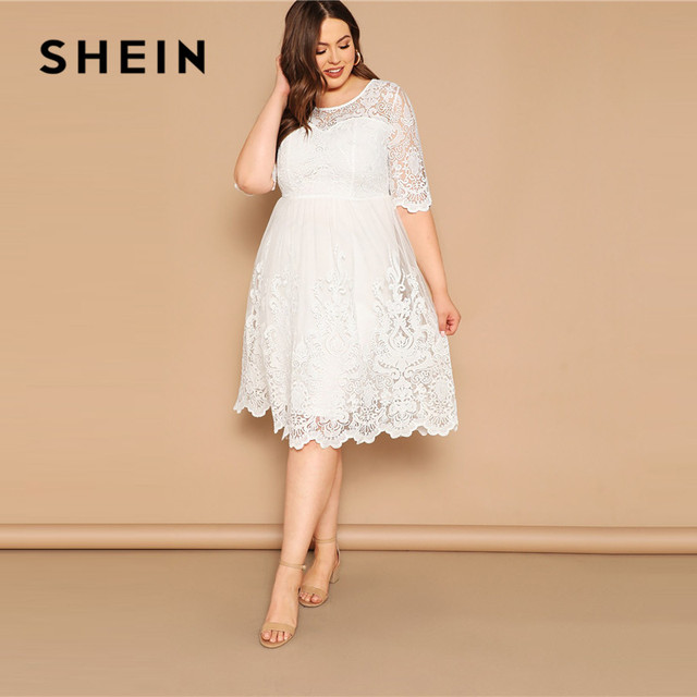 67ec6d83fbd SHEIN Plus Size White Embroidered Mesh Overlay Scalloped Sweetheart Dress  Women Summer Romantic Boho Half Sleeve A Line Dresses