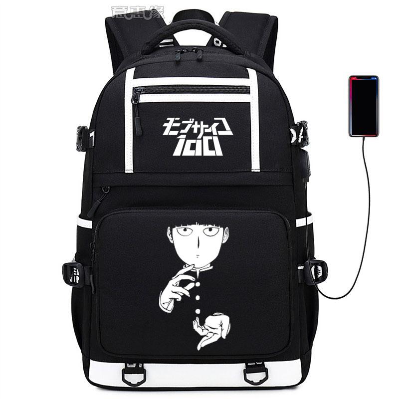 Mob Psycho 100 backpack Mobu Saiko Hyaku bag casual USB Charging knapsack anime Studert School Laptop