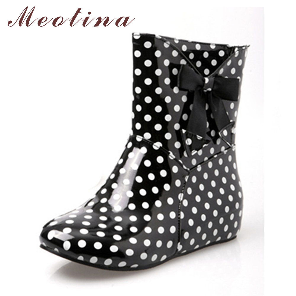 Meotina Shoes Women Rain Boots Ankle Boots Shoes Fashion Round Toe Low Heels Boots Autumn Summer Polka Dot Large Size 34 43 9 10 wellies polka dot breathable belt single shoes wading mid calf fashion gum canister rain womens boots women colorful antiskid