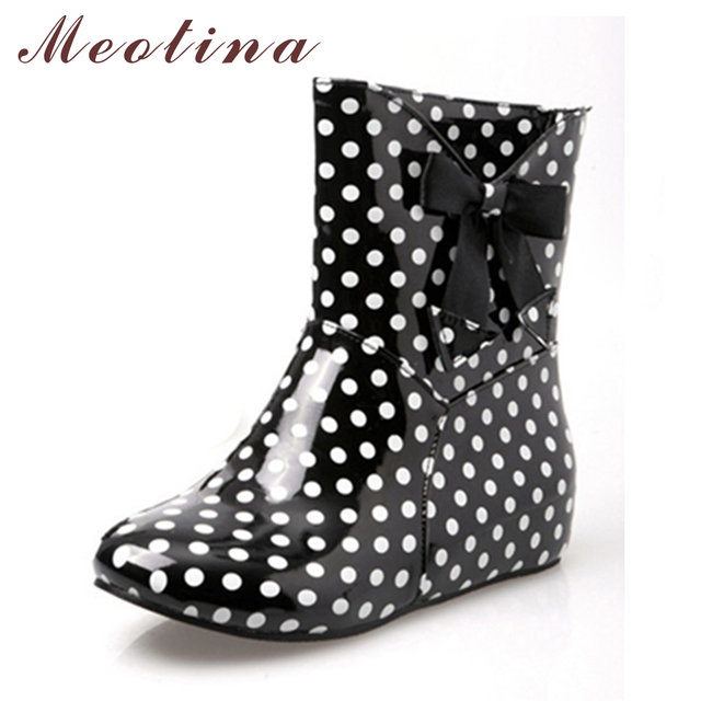Meotina Shoes Women Rain Boots Ankle Boots Shoes Fashion Round Toe Low Heels Boots Autumn Summer Polka Dot Large Size 34 43 9 10
