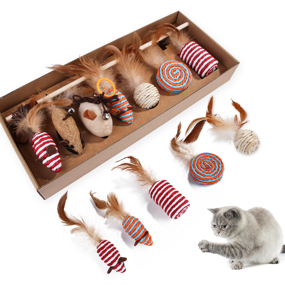 Funny Cat Toys Stick Set Chewing Mouse Feather Sisal Baby Toy Pet Supplies Gift For Cats