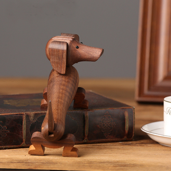детский деревянный стол   Кукла животного скандинавского дизайна Милая деревянная собака миниатюрный домашний Декор статуэтки украшение стола детская комната Рожд...