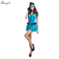 Adogirl Excellent Blue Policewomen Uniforms Female Clothes Really Fun Halloween Cosplay For Women Suit Bar DS