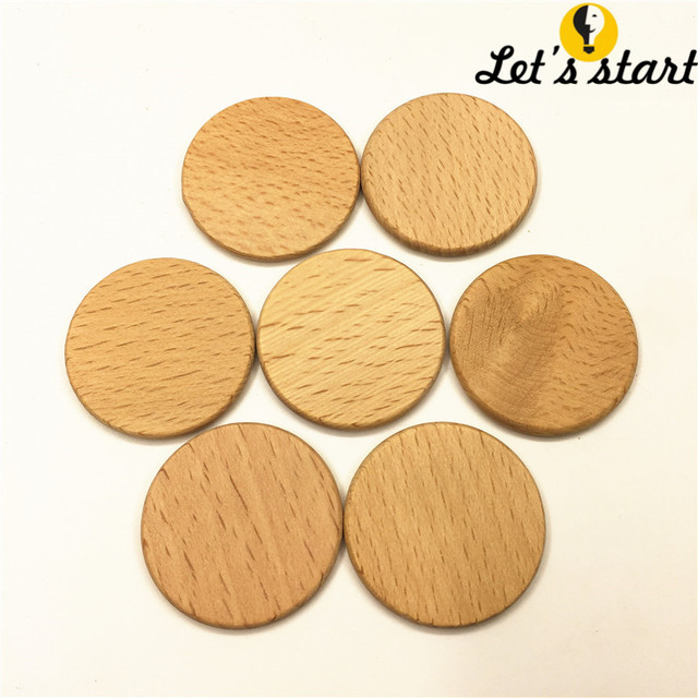 US $2 0 |Free shipping,beech wood wafer 3 7cm Wood Discs Coins Circles,Wood  slice for Teething,Wooden Teether wafer for baby molar toys -in Figurines