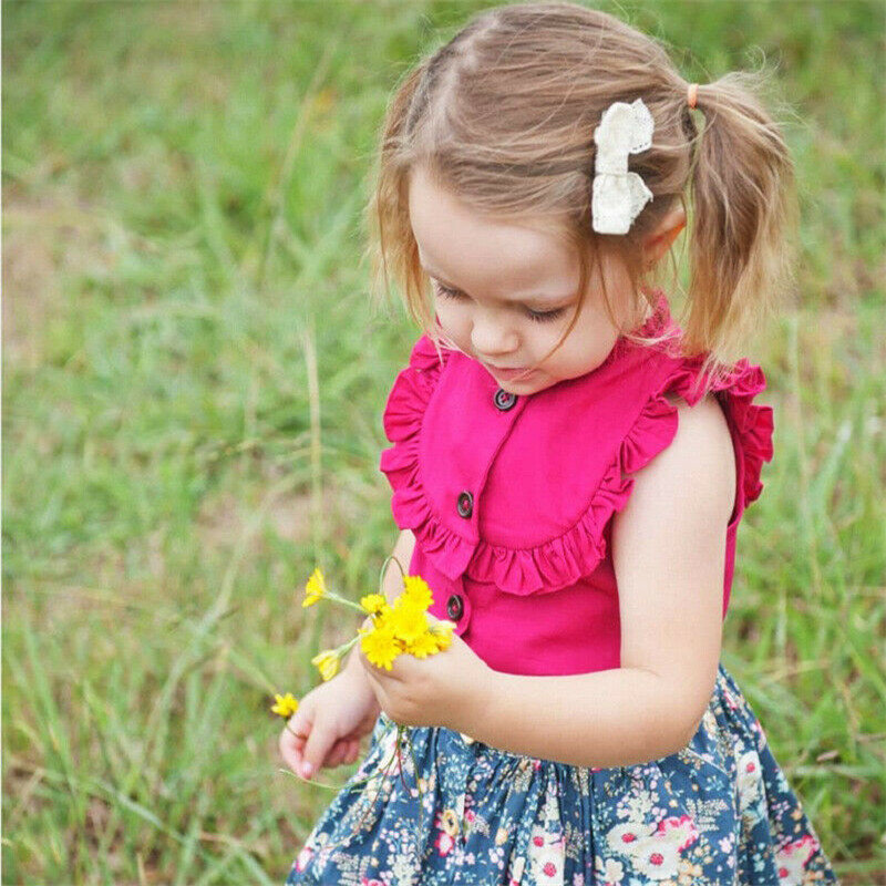 Girls T-Shirts Ruffles Yellow Button-Tops Kids Summer Sleeveless White Rose Solid 2-5T