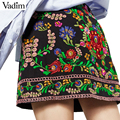 Women vintage Boho flower embroidery skirts retro falda ladies Ethnic style casual streetwear classic mini skirts BSQ492