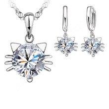 JEXXI Hot Sale!!! New 925 Silver Jewellery Sets Cubic Zircon Pretty Cat Head Kitty Pendant Necklace Hoop Earrings