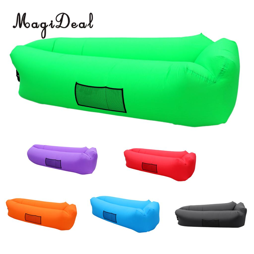MagiDeal Fast Inflatable Air Sleeping Bag Camping Bed Lounger Beach Sofa Chair Lazy Mattress Air hammock norent brand waterproof inflatable mattress camping beach picnic air sofa outdoor swimming pool lazy bed folding portable chair