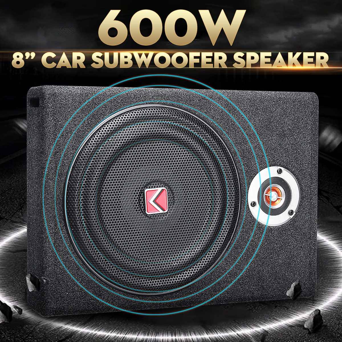 Power-Amplifier Speaker Subwoofers Audio Bass Active Under-Seat Slim 600W Music Car Stereo