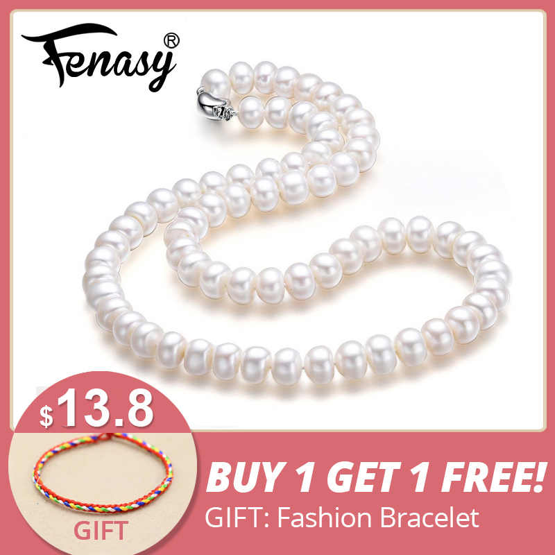 FENASY fine AAAA high quality natural freshwater pearl necklace for women 3 colors 8-9mm pearl jewelry 45cm choker necklace