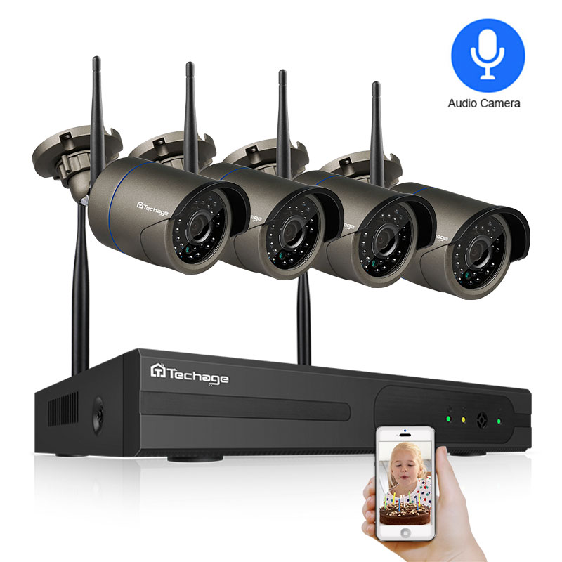 Techage 4CH 1080P Wireless NVR Wifi Security Camera System 2MP Audio Sound Outdoor CCTV IP Camera Video Surveillance Kit 2TB HDD(China)