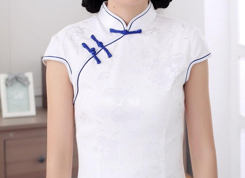 022939dbe Shanghai historia top Grado floral largo cheongsam qipao vestido chino ropa  tradicional oriental blanco vestidos para mujer en Cheongsams de La novedad  y de ...