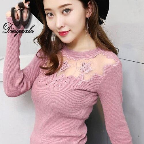 Nuevo otoño y el invierno ropa de mujer de manga larga tops suéter de diamantes