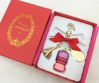 Макарон Эйфелева башня кулон брелки для женщин девочек цвет золотистый сплава бантом сумка Шарм автомобиль брелок с подарочной коробке